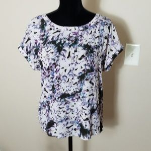Cynthia Rowley Purple Print Zip Up Back Top Sz S